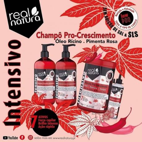 Champô Pro-Crescimento Óleo Rícino & Pimenta Rosa - Real Natura